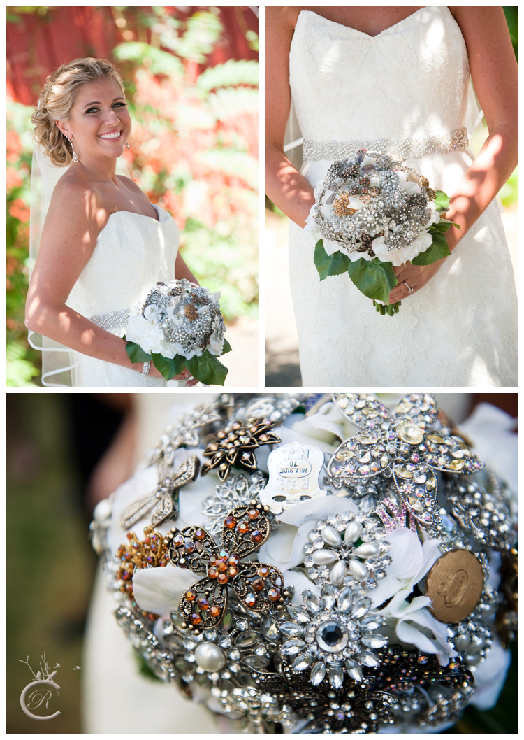 DIY silk flowers + brooch bouquet