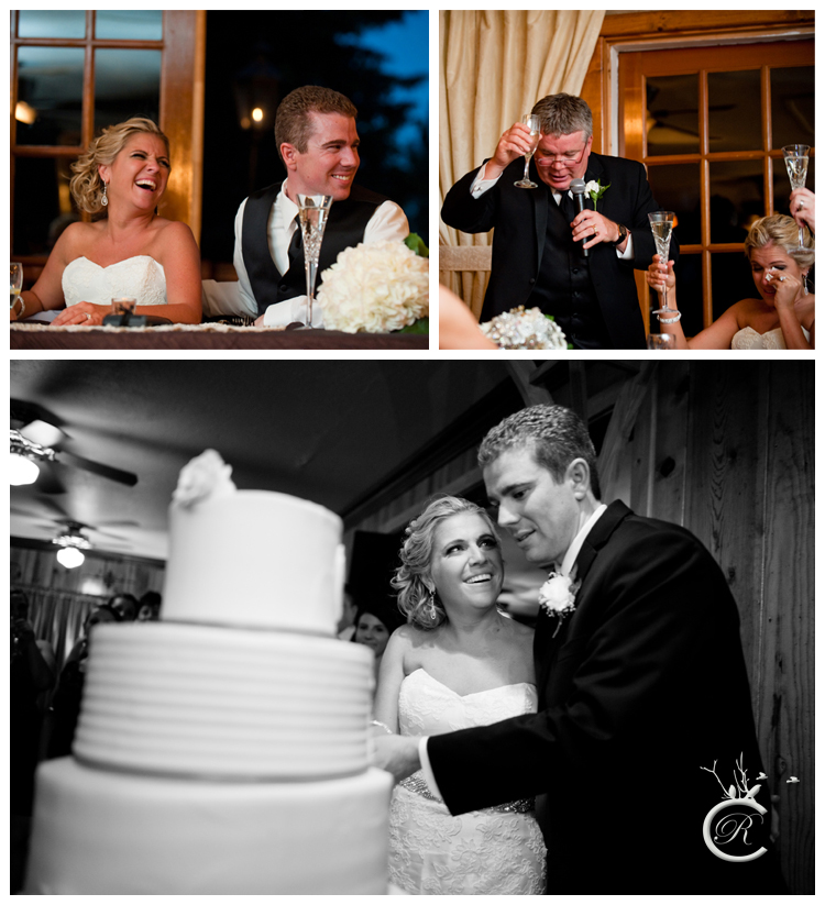 Wedding speeches and cake cutting