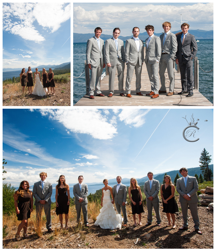 Lake and pier bridal party portraits