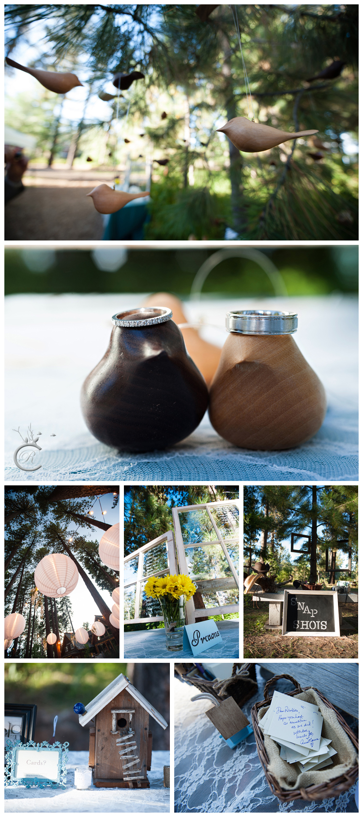 Wooden birds and birdhouse wedding details