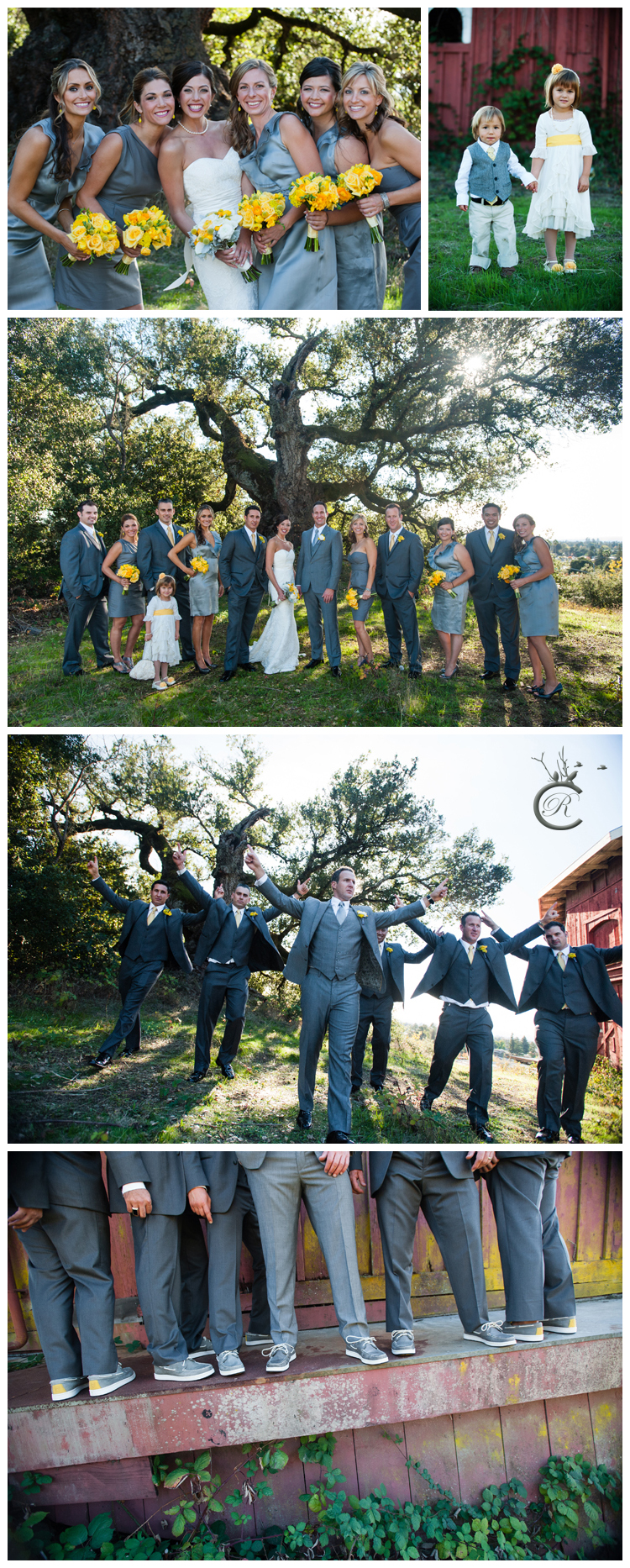 Bridal party photos at St. Francis Winery