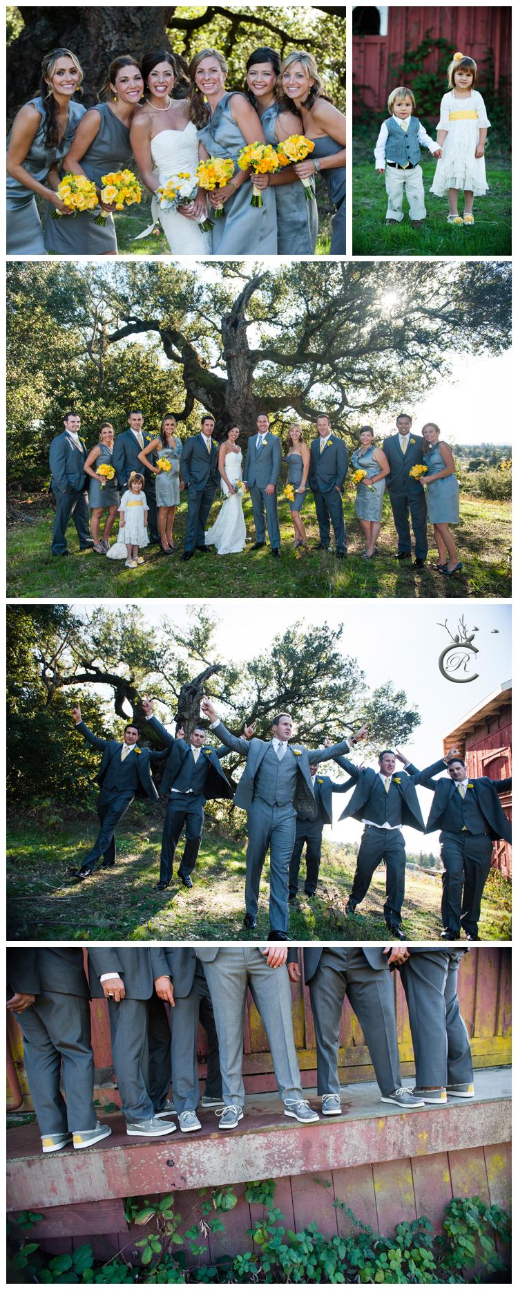 Bridal party photos at St. Francis Winery
