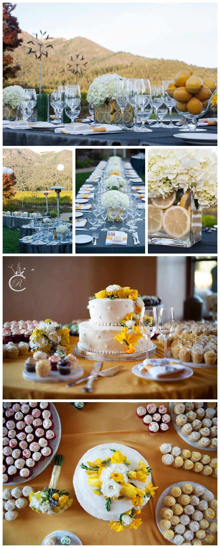 Grey & yellow wedding details