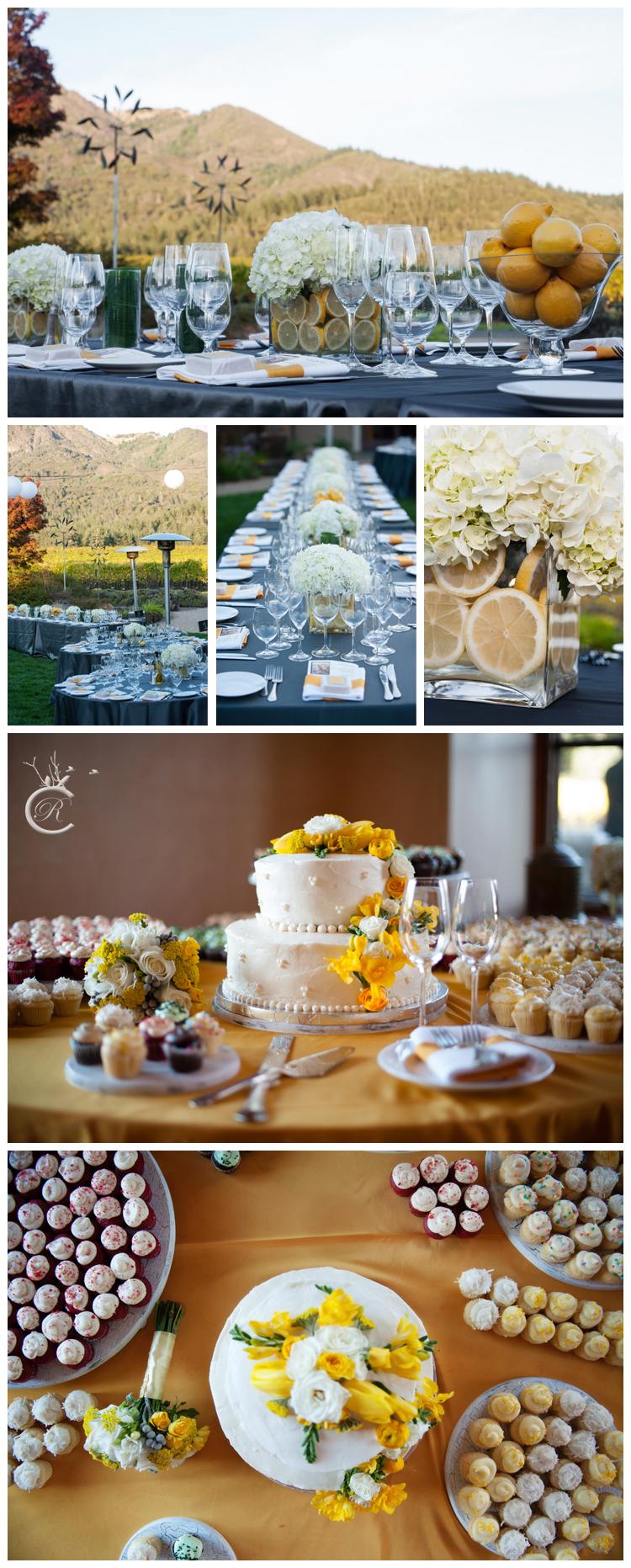 Grey & yellow wedding details