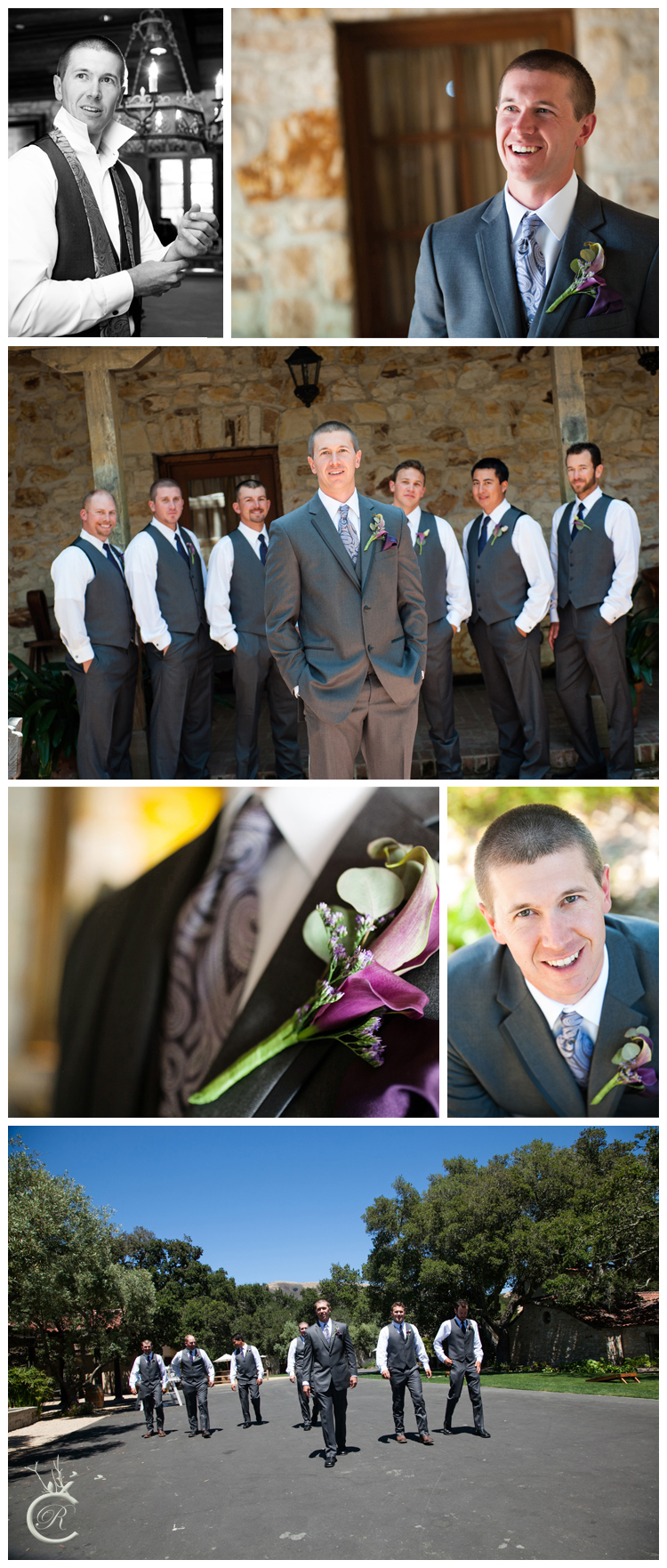 Groom Preparations for Holman Ranch Vineyards Wedding